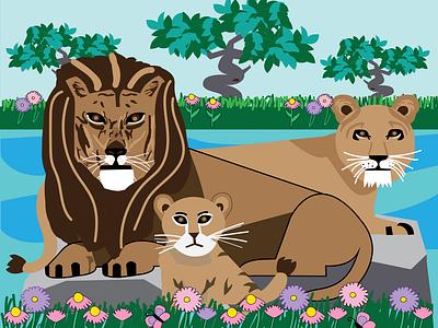Lion and Lioness artwork vector illustration vector art illustration art grass lions animals