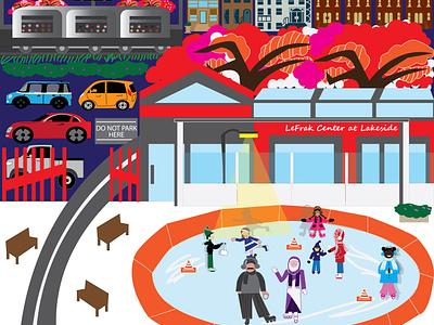 Ice skating ProspectPark art iceskating vector art vector illustration illustration