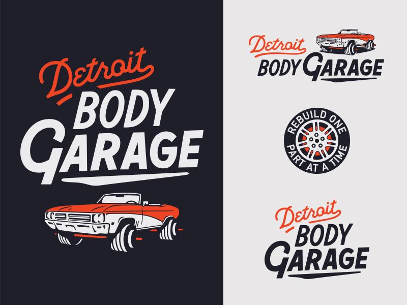 Detroit Body Garage automotive sign painter branding logo