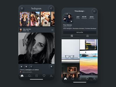 Instagram Redesign interface app mobile design instagram neomorphism ux ui