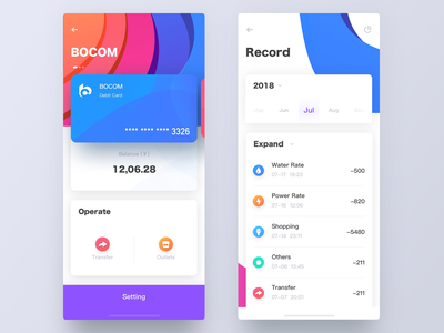 UI concept wallet flat credit card wallet app wallet interface design mobile app ux ui