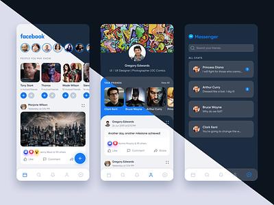 Facebook Redesigned flat redesigned facebook mobile app ux ui interface design