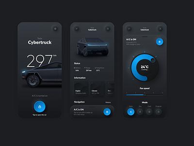 Tesla App vector minimal mobile app ux interface ui design