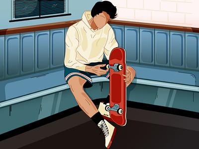 Skater boy illustration skateboarding