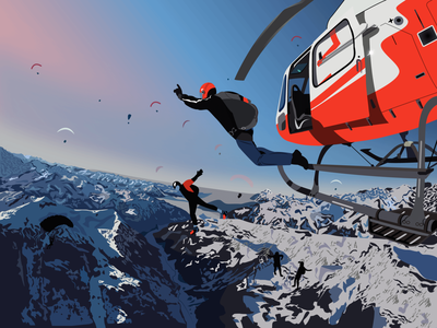 sky diving illustrator artwork illustraion digitalart vectorart