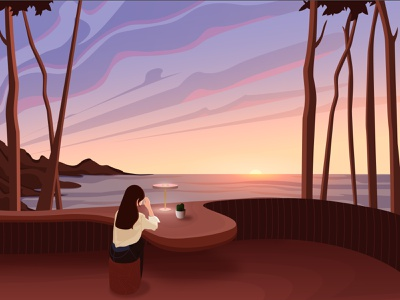 Evening digital illustration graphic design vectorart illustraion digitalart
