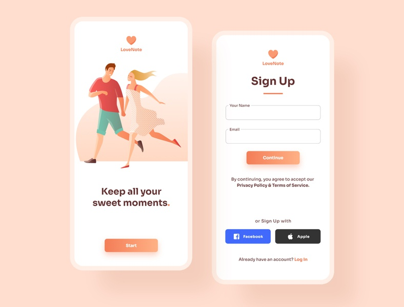 Sign Up Screen for Couple App ux ui  ux uiux uidesign mobile app design ui design mobile app ui design app