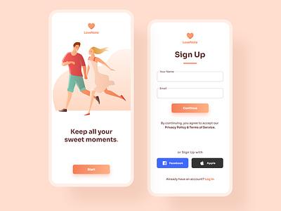 Sign Up Screen for Couple App ux ui  ux uiux uidesign mobile app design ui design mobile app ui design app
