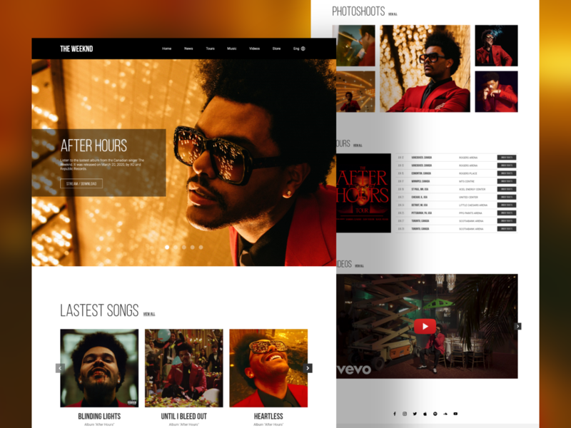 'The Weeknd' Landingpage the weeknd uidesign landingpagedesign landingpage ui ui design design