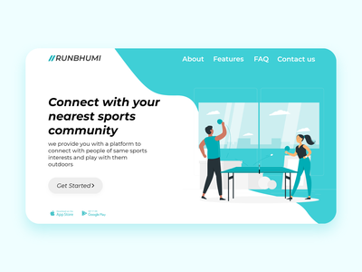 Landing Page daily ui 003 dailyui inspiration sports web design illustration interface ux ui minimal flat design 2020