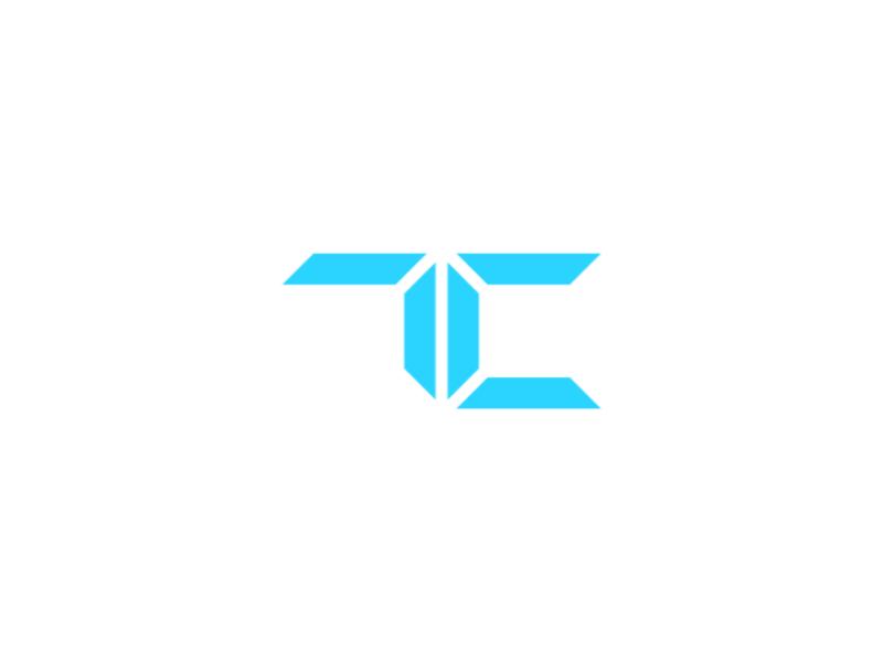 TC segment flat inkscape tecnology tech initial monogram logo cyan blue digital tc