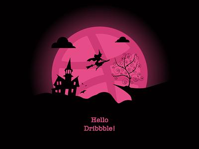 Hello Dribbble! hellodribbble dark witch sunset cartoon dribbble first post firstshot creative ilustrator adobeillustator adobe pink vector minimal illustration design