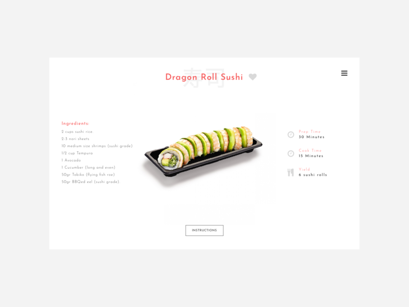 #DailyUI Day 40 - Recipe cookbook cook cooking sushi roll sushi recipe card recipe book recipe app recipes recipe 040 40 web design dailyui ui dailyuichallenge