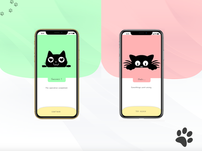 Daily Ui - 011 error message successful success error cat illustration app vector web ux daily dailyui ui design