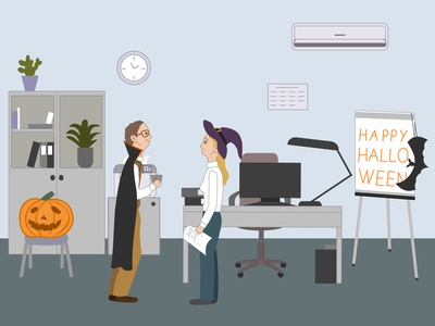 Halloween celebration computer desk work place young woman witch hat pumpkin party office man illustration holiday happy halloween girl dracula coat company colleague celebration cartoon boy bat