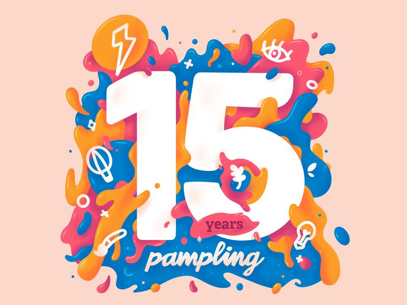 Pampling 15 Years design pampling procreate 15 paint colors branding illustration