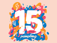 Pampling 15 Years design pampling procreate 15 paint colors branding illustration