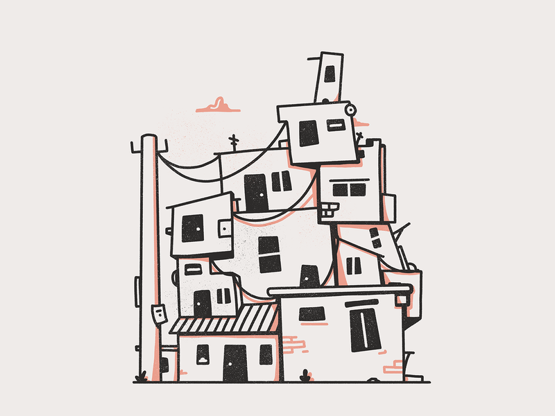 Favela buildings houses photoshop brazil favela black illustration