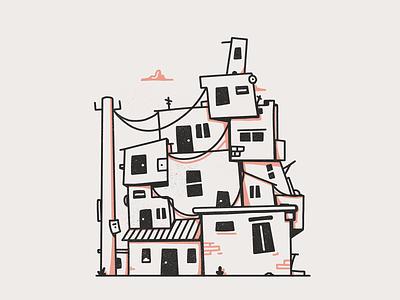Favela buildings houses photoshop brazil favela black illustration