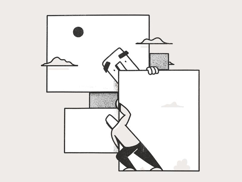 Windows illustrations scene window white black character illustration