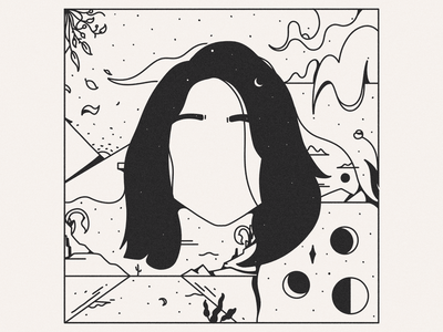Wisp of Hair composition environment surreal woman portrait woman character black  white black illustration inktober wisp