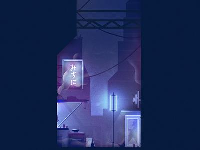 Blade Runner neon futuristic city blade runner inktober illustration cyberpunk