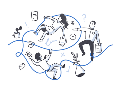 Chaotic Workplace scope of work contract chaos team work office character illustration