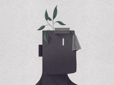 Seed of Light illustration leaves leaf plants character head robot seed plant