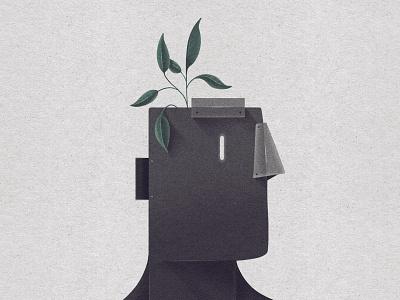 Seed of Light illustration leaves leaf plants character head robot seed plant