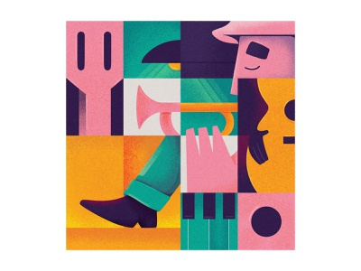Sad Melody piano festival bar procreate illustration trumpet guitar jazz musician music