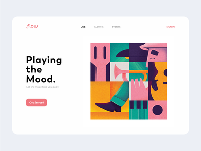 Untitled 4 character music player page landing piano guitar trumpet musician website web web design illustration music