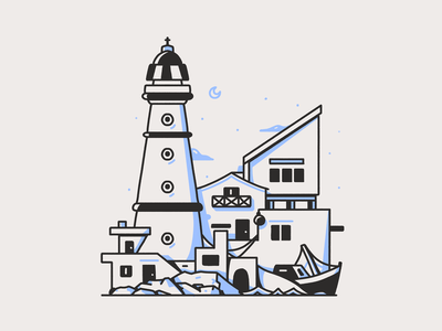Latinoamerica - Cabo Polonio - Uruguay boat fishing scene rocks houses lighthouse beach environment building illustration uruguay cabo polonio sudamerica latinoamerica