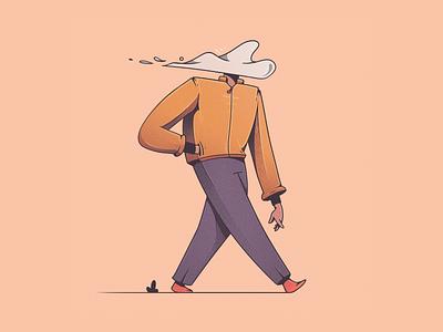 Walking around in a cloud of no illustration design cloud walk walking character