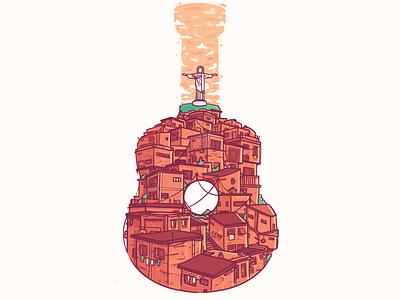 Guitar Series - Favela illustration south america guitarra guitar brazil rio rio de janerio favela