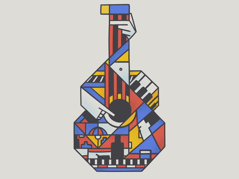 Calle Melancolia music night primary colors design bar face guitarra guitar uruguay illustration