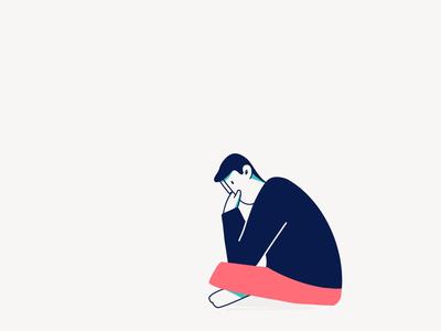 Mondays full of doubts minimal sitting illustration character doubt