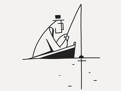 Bait? lineart line black fish fishing character ink bait fisherman
