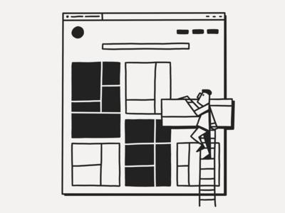 Build linework line linear build character portfolio site elements ui white black ink inktober