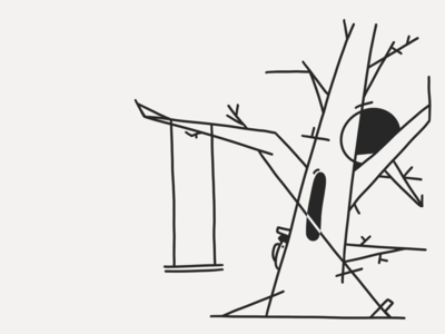 Day 9 Swing line art lines black white black tree ink inktober swing