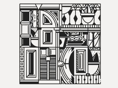 Barrio Reus pattern constructivism black white white black montevideo reus barrio inktober ink