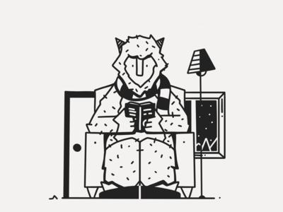 Cozy Yeti black black white ink sofa comfy cozy monster yeti inktober snow