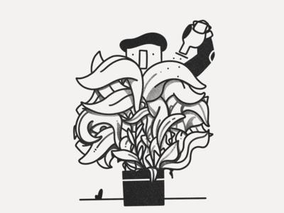 Overgrown illustration white black inktober plant overgrown