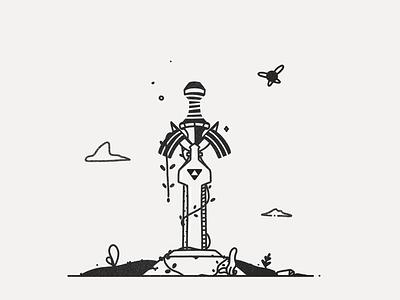 Mastersword - Legend of Zelda procreate vector lineart white black illustration zelda link mastersword legend inktober