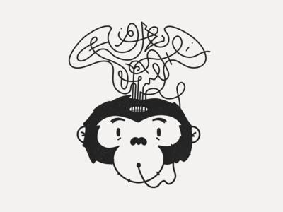 Monkey Thoughts procreate art line white black illustration digitober inktober thoughts monkey wild