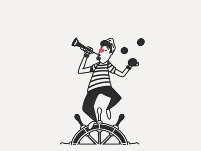 Sea Clown Circus sea boat juggling flute clown illustration lineart white black inktober tread