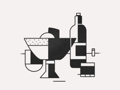 Table's ready vector illustration procreate lineart white black inktober tasty food
