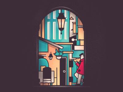 Doorways geometric texture procreate spain building character illustration doorway