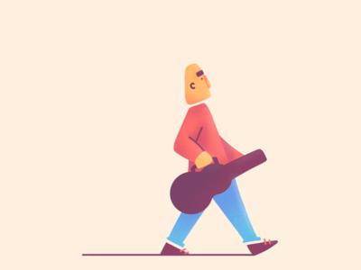 Stroll minimalist walking walk procreate texture ilustracion guitar illustration music character