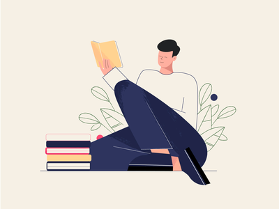 Reading a book animation ux boy graphic design plants characterdesign ui illustrator illustration art minimal vector flat flowers plant book business character design character 2d