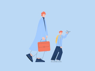Father and son family plane airport annual report design annualreport design 2d character vector minimal characterdesign illustrator illustration flat art